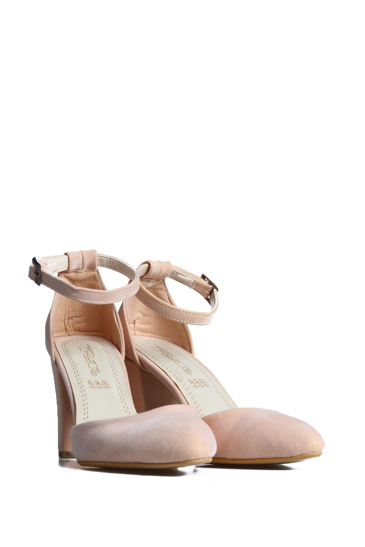 PUNTO Kadın Pembe Süet Topuklu Ayakkabı 1