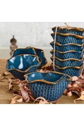 Keramika 11 Cm Çerezlik Koyu Mavi 6 Adet