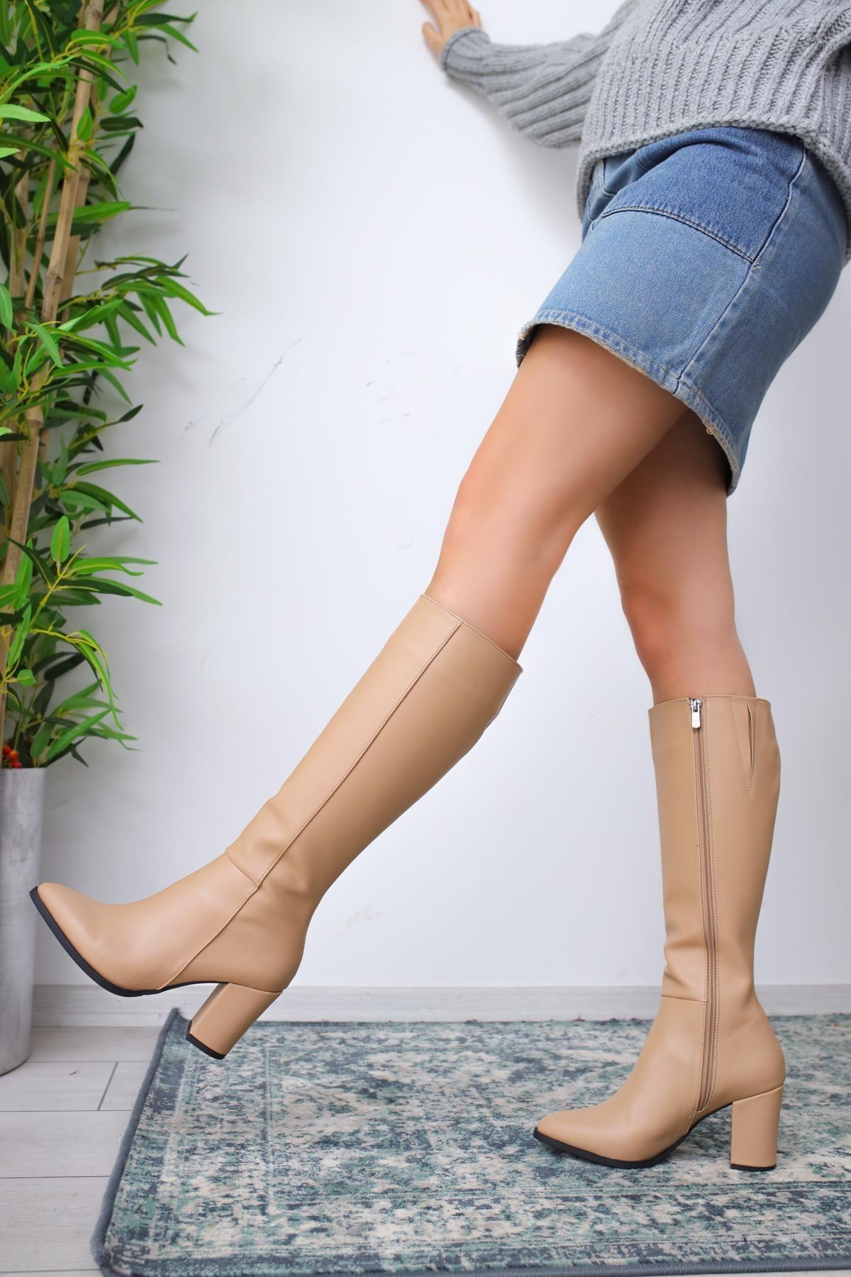 Limoya Tatum Nud Sivri Burunlu Orta Topuklu Çizme 2