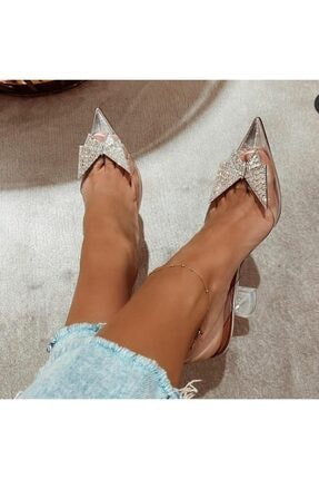 Giydim Gidiyor Diamond Kristal Taşlı Topuklu Stiletto Şeffaf