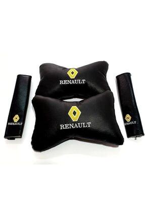 SLAMMER Renault Reno Deri 2 Boyun Yastık 2 Kemer Kılıf Elyaf Dolgulu Konfor Minder