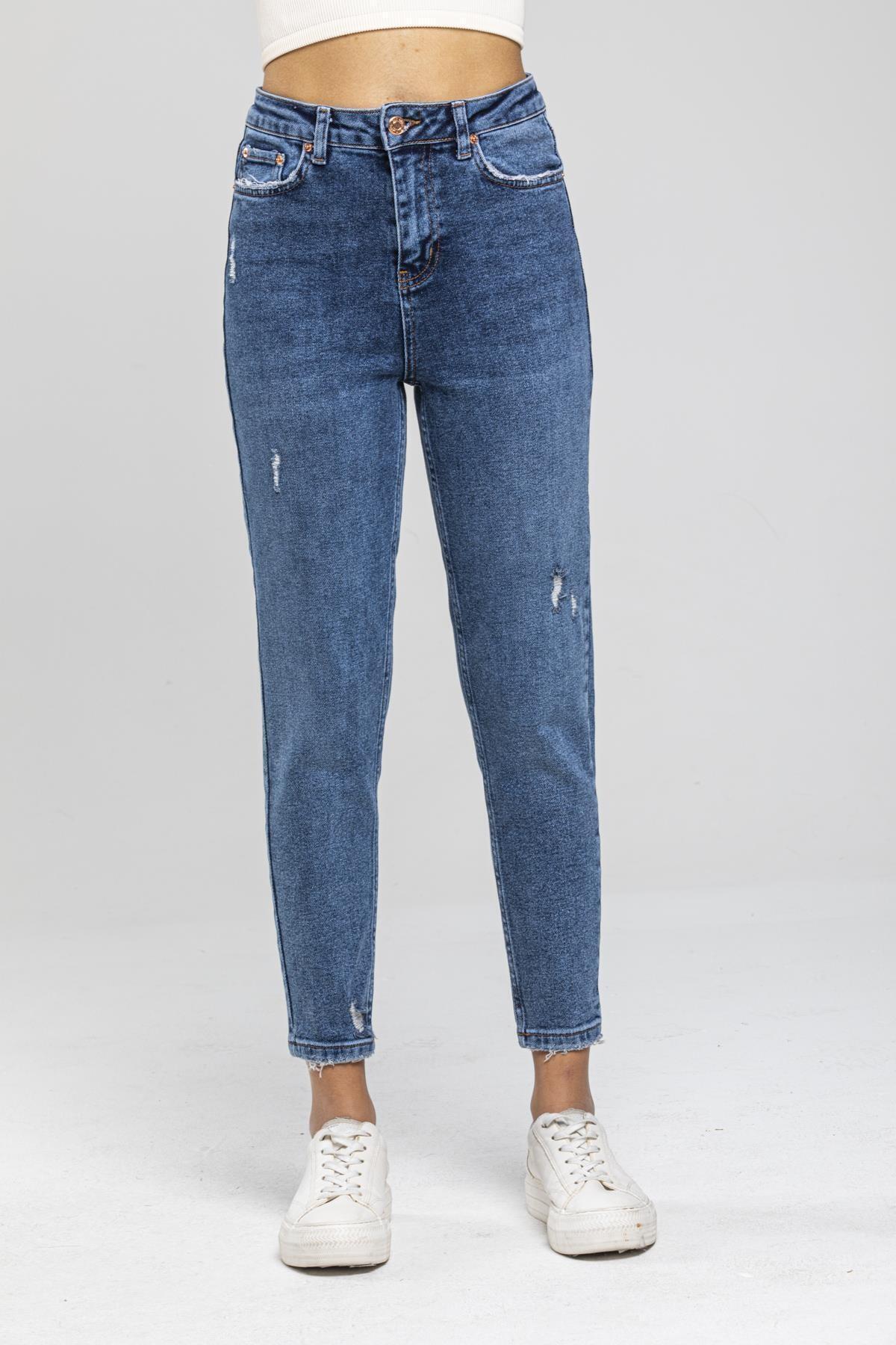 FAF Yüksek Bel Jean Açık Mavi Mom Fit Kot Pantolon 2285 2