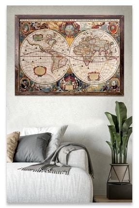 Sticker Sepetim 18. Yy Dünya Haritası 3 Ahşap Tablo