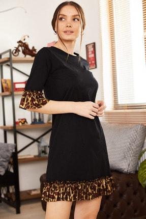 armonika Kadın Siyah Kolu Ve Etek Ucu Leopar Desen Fırfırlı Elbise ARM-21K001100