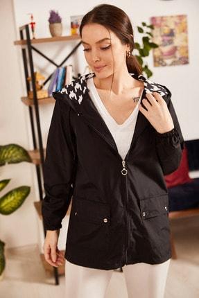 armonika Kadın Siyah Kapüşon Astarı Yıldız Desen Çıtçıtlı Fermuarlı Yağmurluk ARM-21K055003