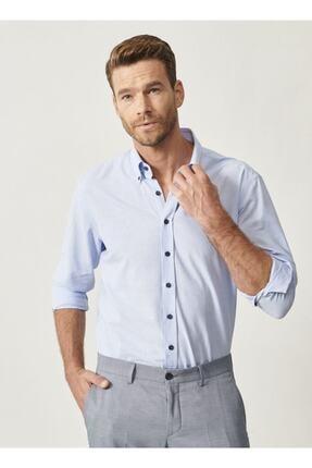 AC&Co / Altınyıldız Classics Erkek Açık Mavi Düğmeli Yaka Tailored Slim Fit Oxford Gömlek