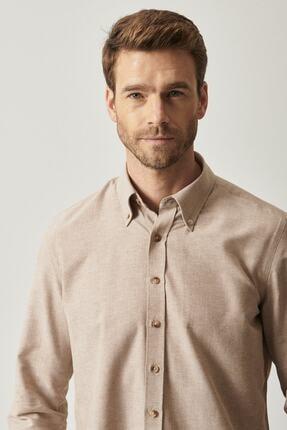AC&Co / Altınyıldız Classics Erkek Vizon Düğmeli Yaka Tailored Slim Fit Oxford Gömlek