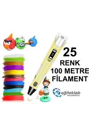 3D Sarı Kalem Yazıcı+25 Renk 100 Metre (25x4metre) Pla Filament