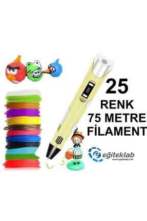 3D Sarı Kalem Yazıcı+25 Renk 75 Metre (25x3metre) Pla Filament