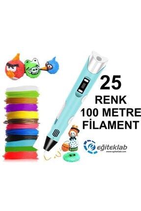 3D Mavi Kalem Yazıcı+25 Renk 100 Metre (25x4metre) Pla Filament
