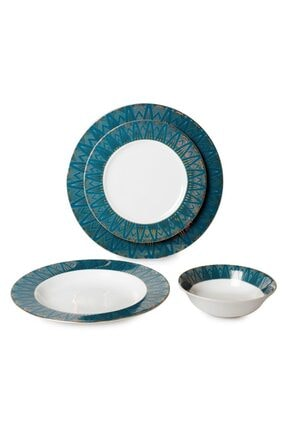 İpek Porselen 24 Parça 6 Kişilik Yuvarlak Günlük Yemek Takımı