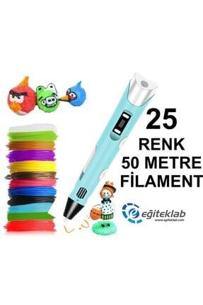 3D Mavi Kalem Yazıcı+25 Renk 50 Metre (25x2metre) Pla Filament