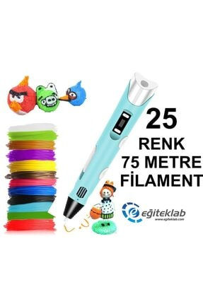 3D Mavi Kalem Yazıcı+25 Renk 75 Metre (25x3metre) Pla Filament