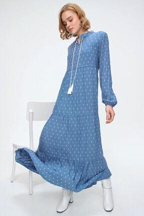 Bigdart Kadın Çapa Mavi Volanlı Tesettür Elbise 10313