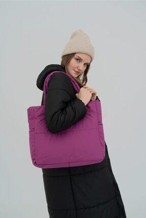 Shule Bags Kabartmalı Puf Kumaş Shopper Çanta Napoli Mor