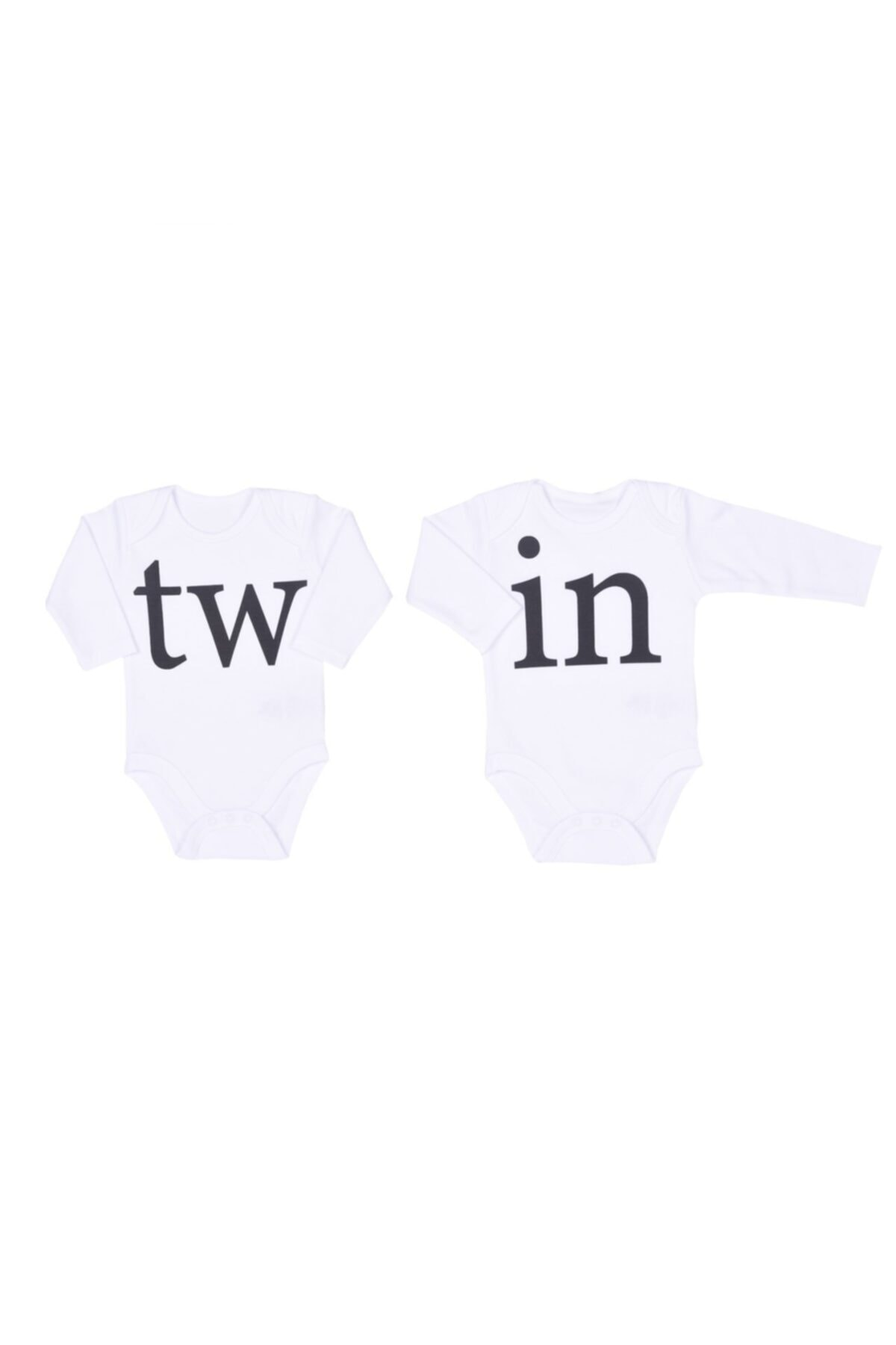 kitikate Unisex Bebek Beyaz Twin 2li Amerikan Yaka Body 1