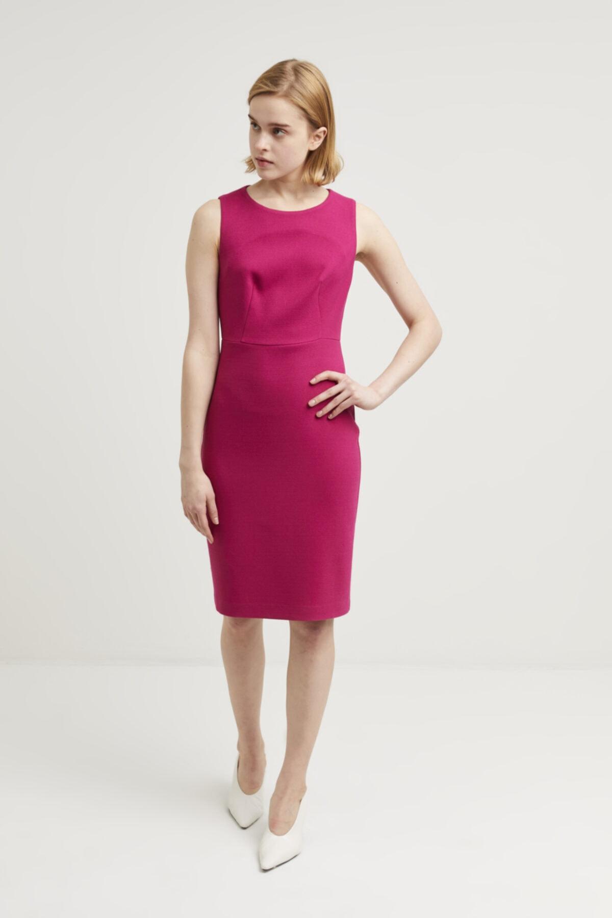adL Kadın Fusya Sıfır Kollu Elbise 2