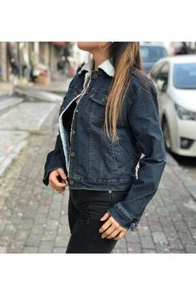 MENGÜ KİDS Içi Kürk Detaylı Koyu Mavi Kadın Kot Ceket