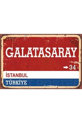 Hayat Poster Galatasaray Sokak Yön Tabelası Retro Vintage Ahşap Poster