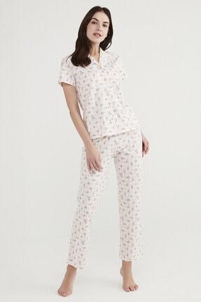 Penti Kadın Beyaz Çiçekli Pijama Takımı