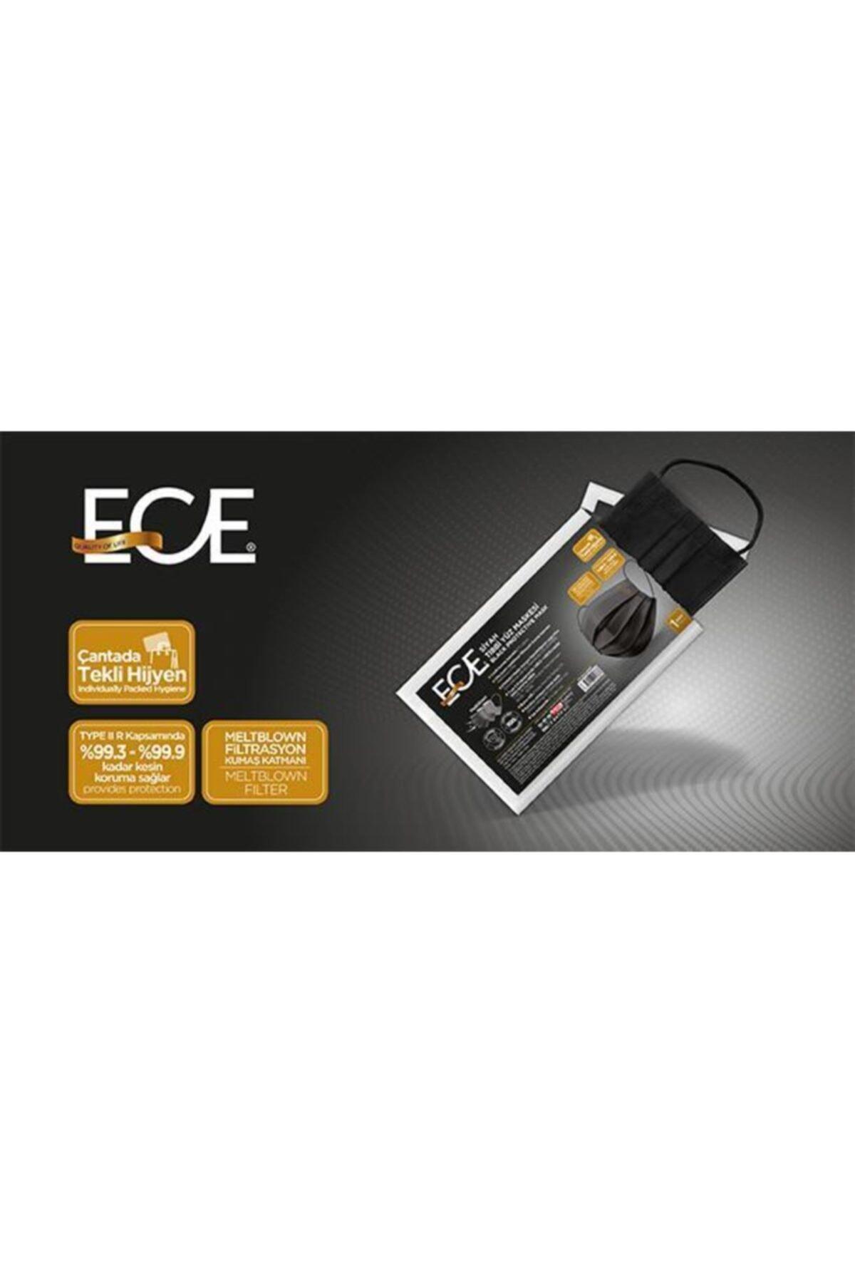 Ece Full Ultrasonik Tek Tek Paketli Meltblownlu Siyah Maske 50 Adet 2