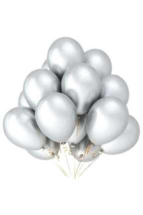 BalonEvi Metalik Silver (Gümüş) Balon 10 Adet Helyumla Uçan