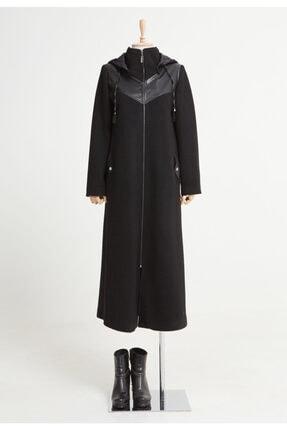 Setrms Kadın Siyah Kapişonlu Fermuarlı Cep Detaylı Kaban