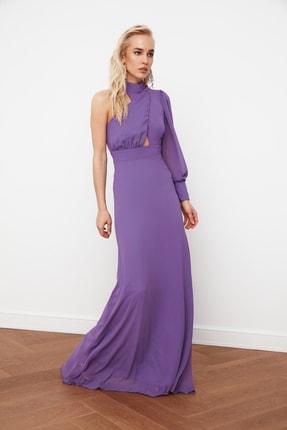 TRENDYOLMİLLA Mor Yaka Detaylı  Şifon Abiye & Mezuniyet Elbisesi TPRSS21AE0004