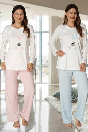 Effort Pijama Effortt 3094 Emzirme Özellikli Hamile Pijama Takımı Mavi