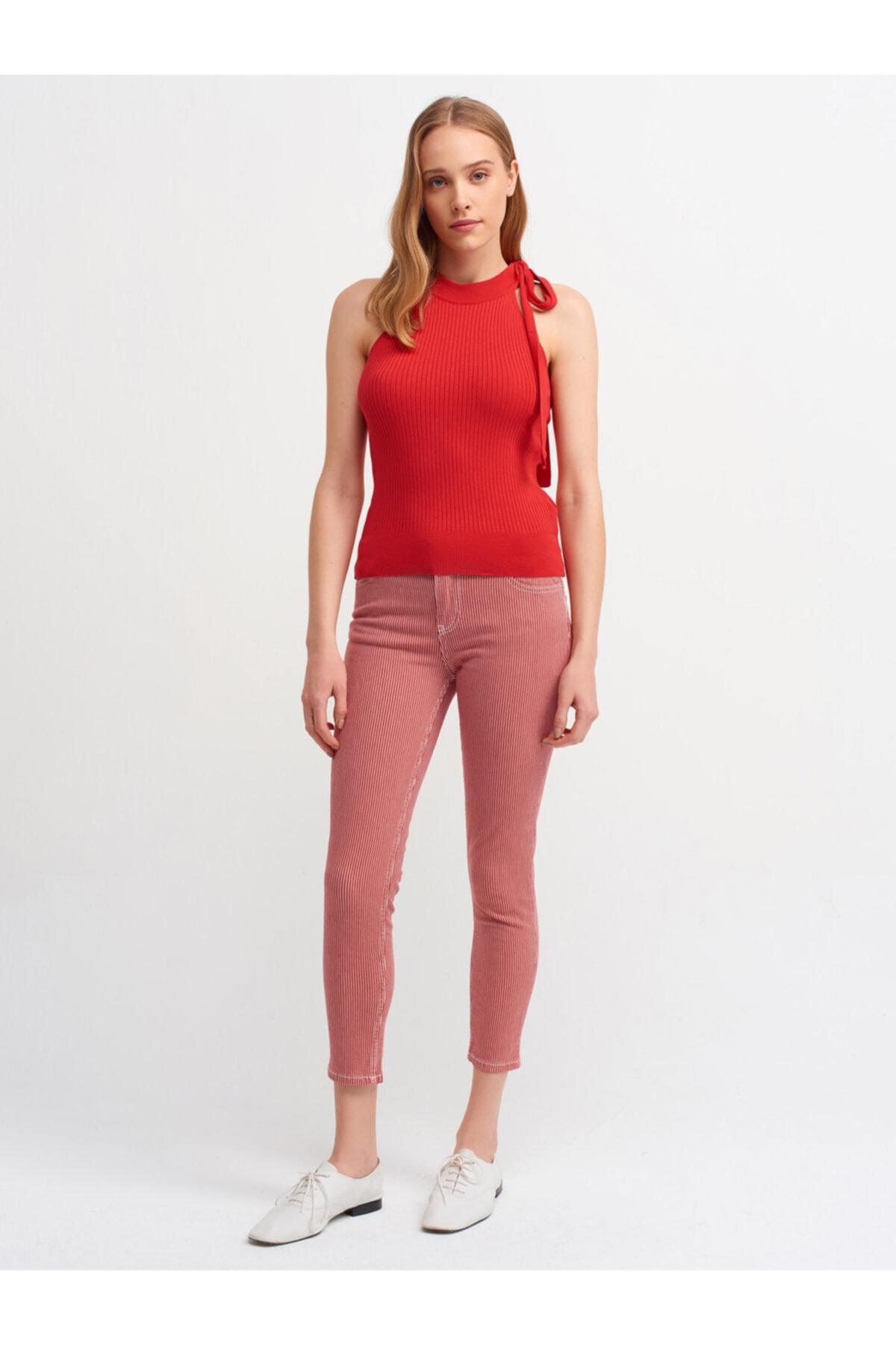 Dilvin Kadın Kırmızı Beyaz Çizgili Havlu Yıkama Pantolon 7537 1