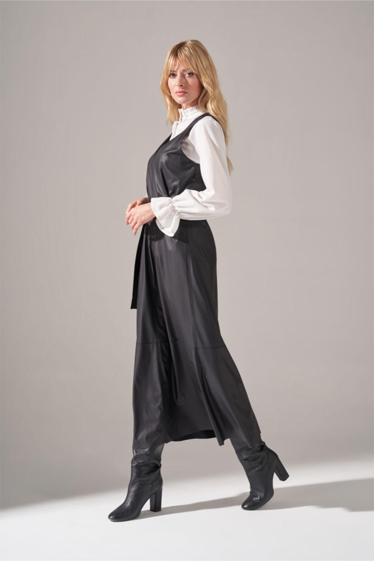 Mizalle Suni Deri Jile Elbise (Siyah) 2