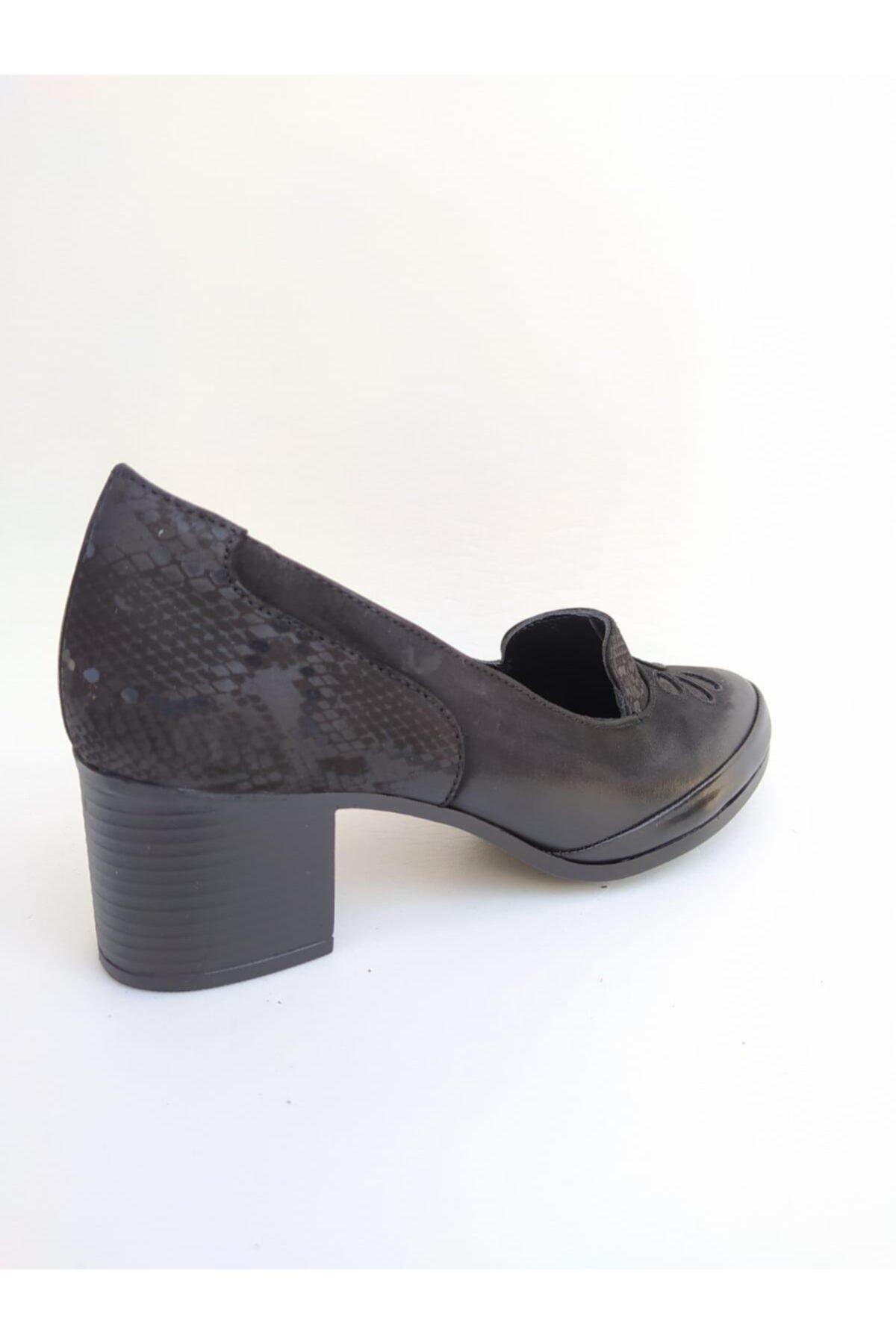 Venüs Kadın Siyah Topuklu Orjinal Deri Ayakkabı 1911922k 2