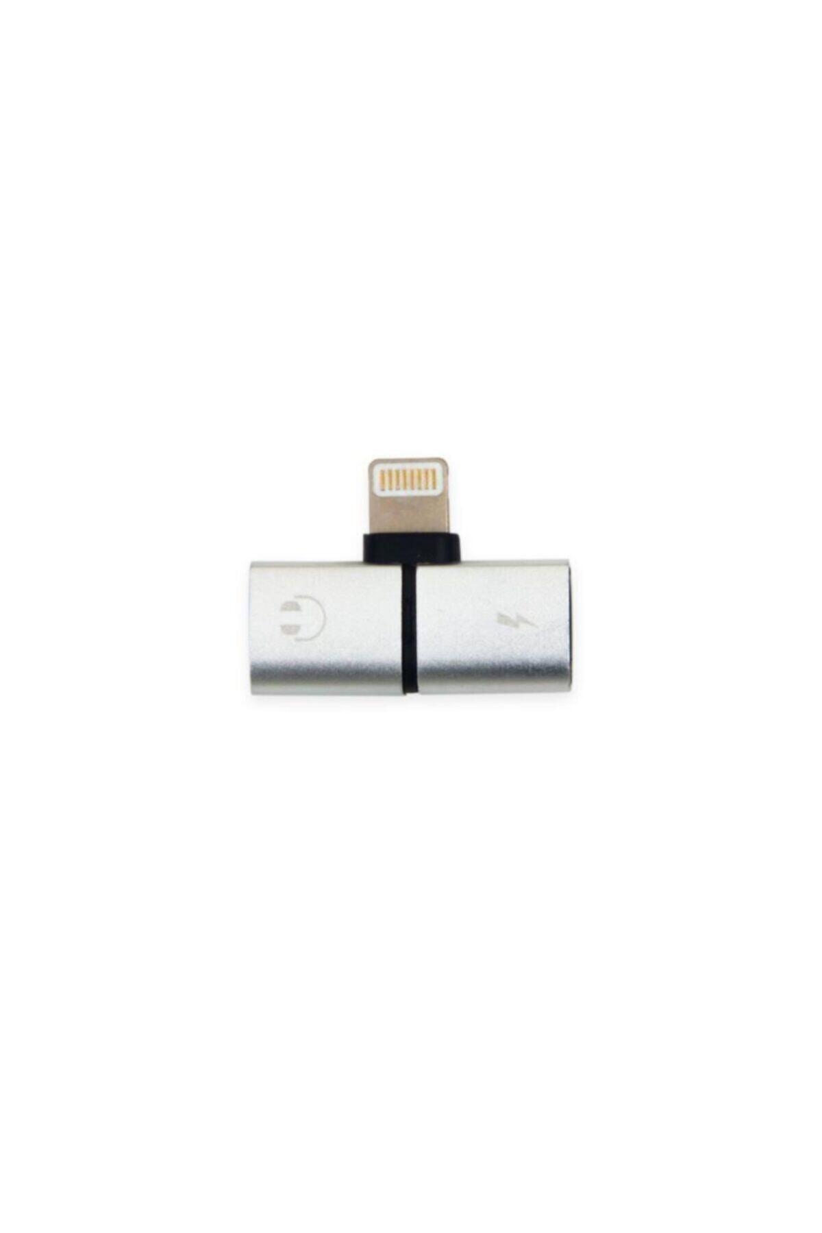 AlpCollection Iphone Uyumlu Şarj Ve Kulaklık Soketi Çoğaltıcı Adaptör Aparat Apple 7 Silver 2