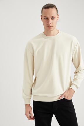 DeFacto Erkek Ekru Oversize Fit Bisiklet Yaka Basic Sweatshirt