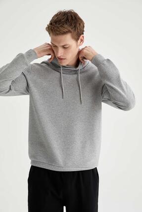 DeFacto Erkek Gri Şal Yaka Slim Fit Basic Sweatshirt