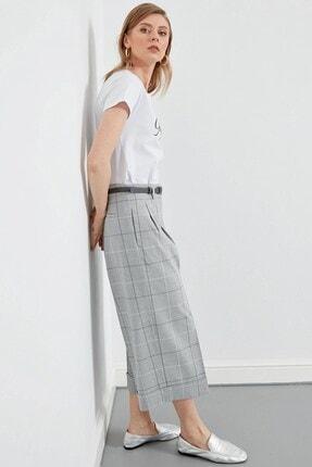 Journey Kadın Gri Bel Kemer Detaylı Pileli Duble Bol Paça Pantolon