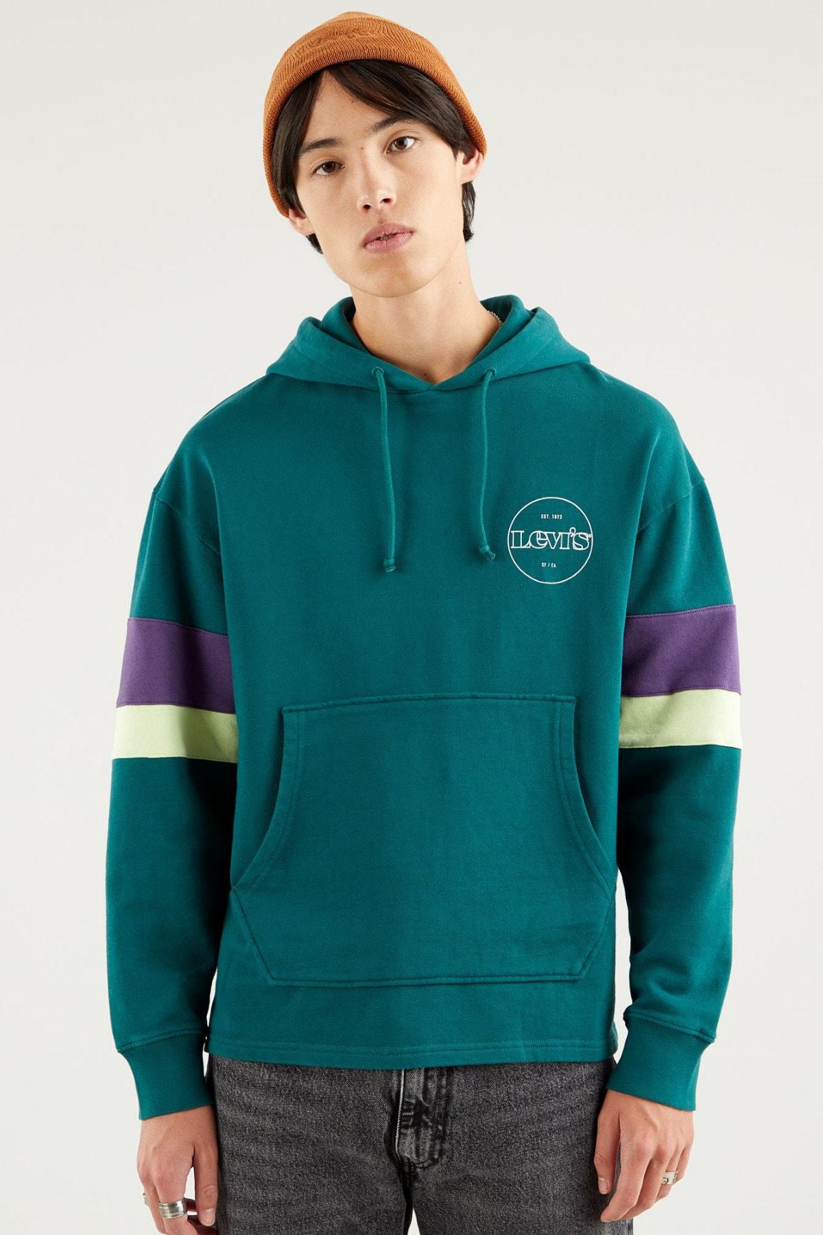 Levi's Erkek Yeşil Kapüşonlu Relaxed Sweatshirt 1
