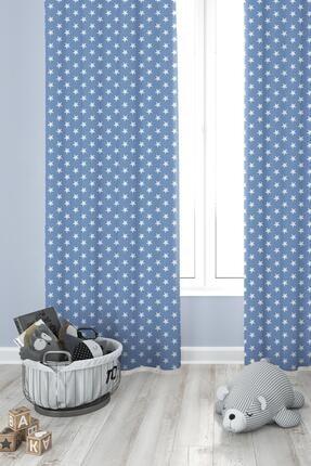 Premier Home Yıldız Desenli Fon Perde Mavi 170x270
