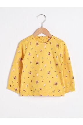 LC Waikiki Kız Bebek Sarı Baskılı Sweatshirt
