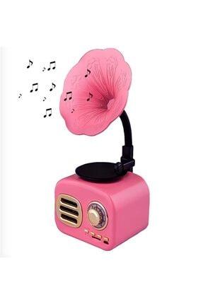 NETAPLUS Pembe Nostaljik Gramofon Taşınabilir Bluetooth Ses Bombası Hoparlör Mini Radyo Müzik Çalar Kutusu