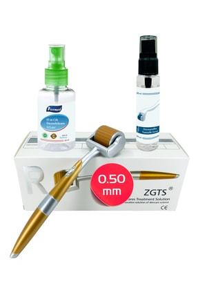 Zgts Gold Line Dermaroller 0.50mm + Dezenfektan Hediye Titanyum 192 İğneli Saç Yüz İçin Derma Roller