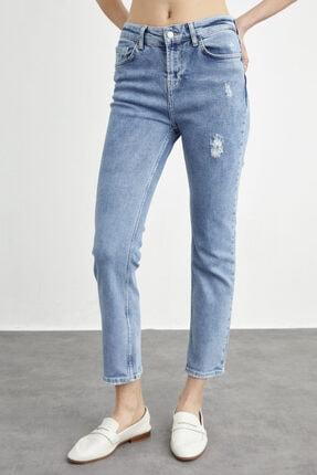 adL Kadın Mavi Yıpratmalı Boru Paça Jean Pantolon