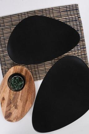 Keramika Siyah Mat Oscar Servis Tabağı 35 Cm 2 Adet