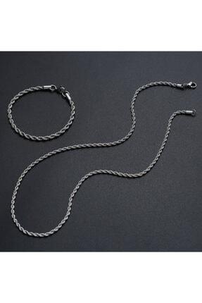 MedBlack Jewelry Unisex Gümüş Kaplama Kalın Burgu Kolye Bileklik Set
