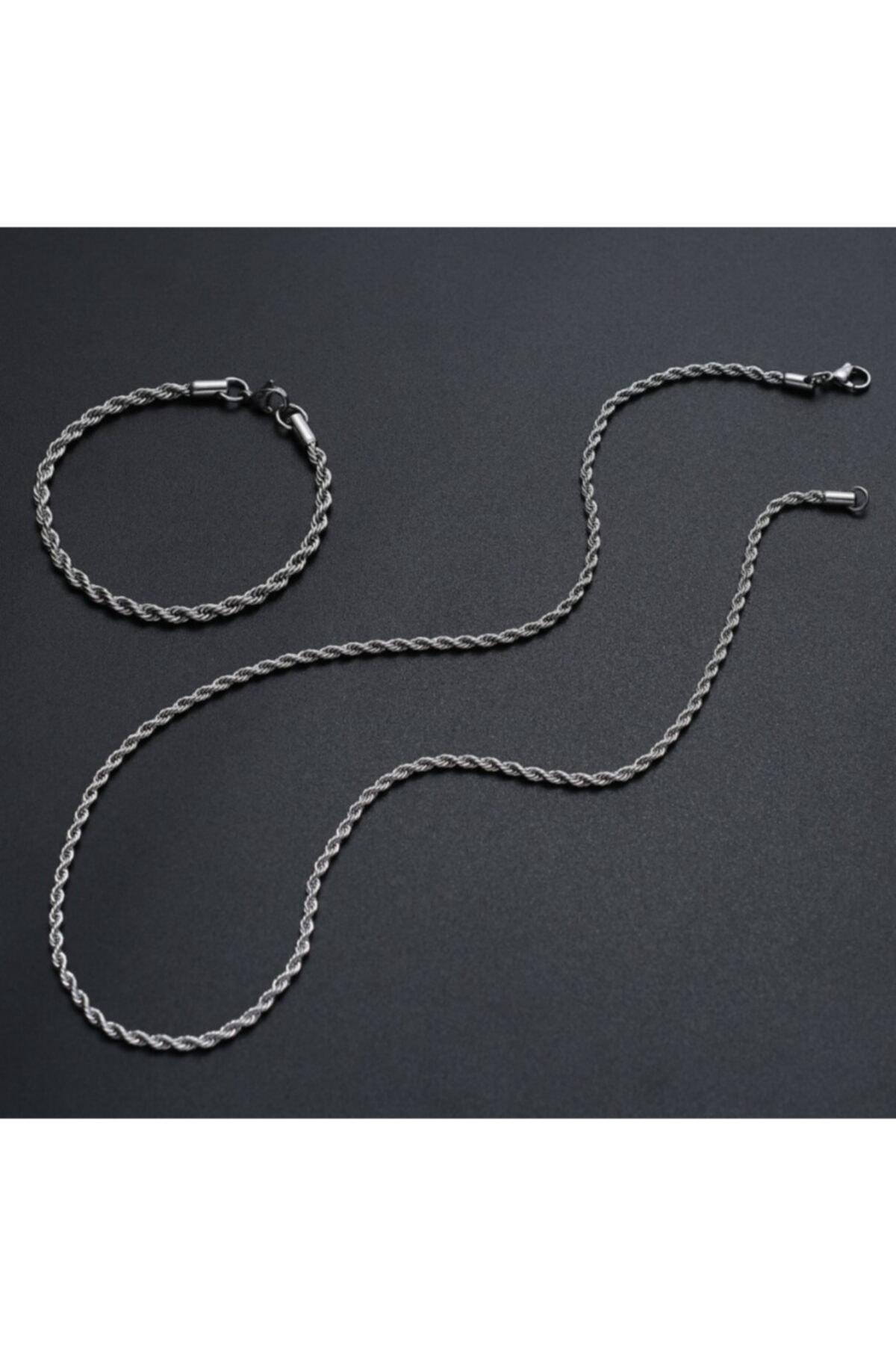 MedBlack Jewelry Unisex Gümüş Kaplama Kalın Burgu Kolye Bileklik Set 1