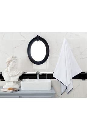 Madame Coco Prudence Banyo Havlusu - Beyaz / Lacivert - 70x140 Cm