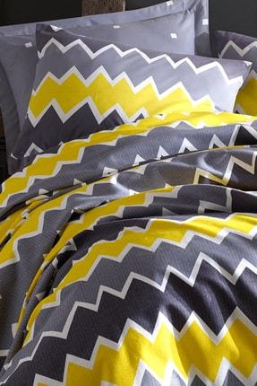 Enlora Home Enlora %100 Doğal Pamuk Pike Seti Tek Kişilik Baskılı Zigros Sarı
