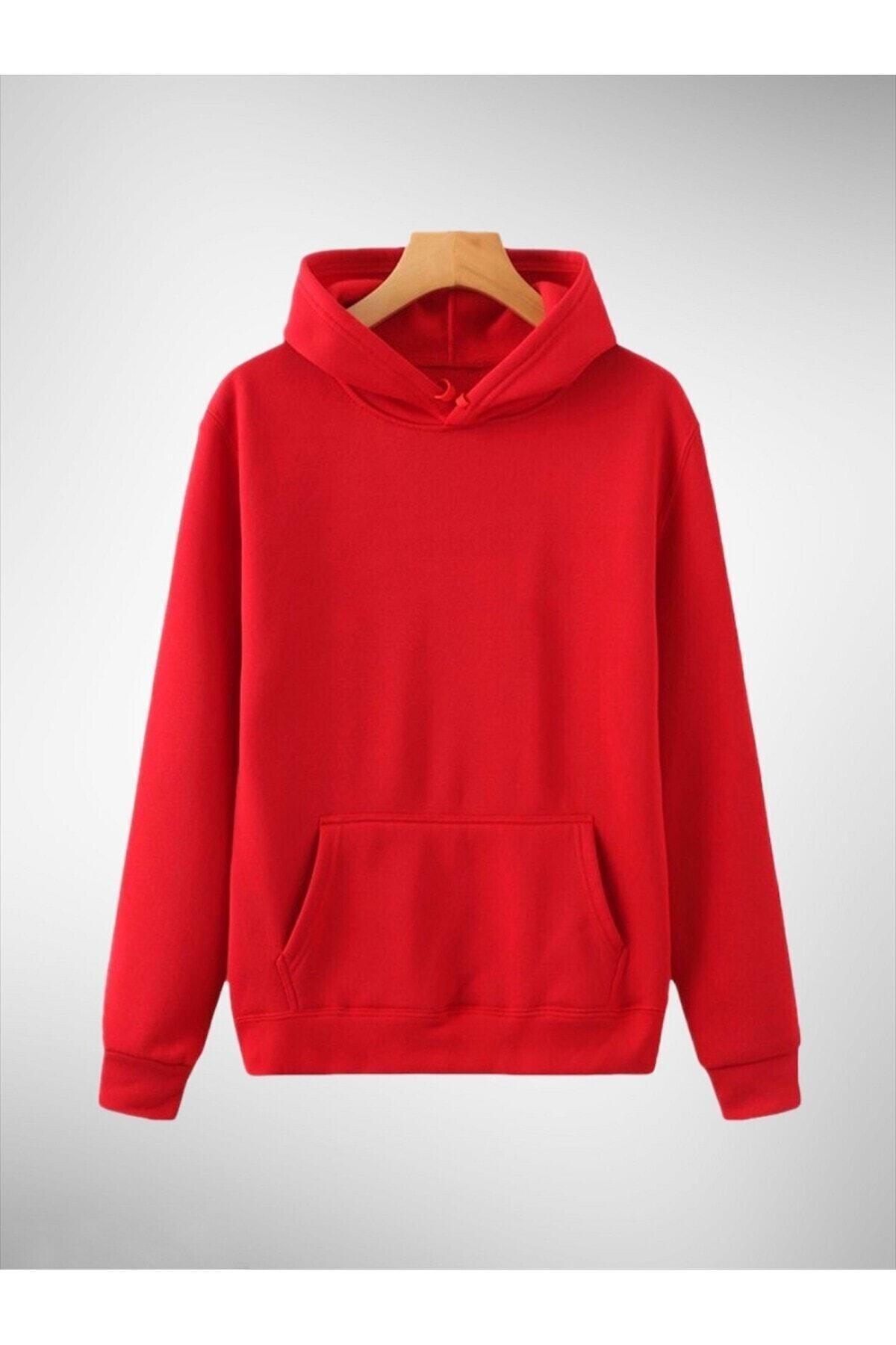 OkeanoX Kapşonlu Kırmızı Pamuklu Örme Sweatshirt 1