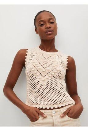 MANGO Woman Kadın Ekru Örgü Bluz