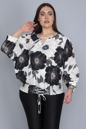 Şans Kadın Kemik Yarasa Kollu Etek Ucu Kuşgözü Bağcık Ve Lastik Detaylı Desenli Bluz 65N23280